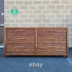 Late 20th Century Faux Bamboo & Oak Lowboy Double Dresser by CENTURY FURNITURE