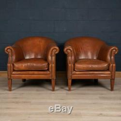 Late 20th Century Pair Of Dutch Sheepskin Leather Club Chairs