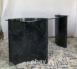 Late 20th Century Postmodern Faux Marble and Beveled Glass Console Table