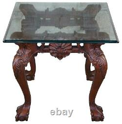 Late 20th Century Scalloped Mahogany & Glass Chippendale Ball & Claw Side Table