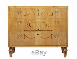 Late Art Deco Inlaid Elm And Birch Chest Of Drawers