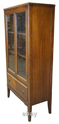 Late Art Deco Walnut Library Bookcase Curio or China Display Cabinet