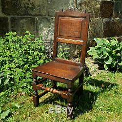 Late C17th Oak High Back Hall Chair (Jacobean Carolean Dining Chair)