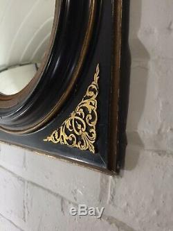 Late Georgian Antique Convex Mirror C19th Gilt Ebonised Decorative Panel Frame