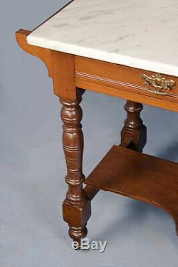 Late Victorian Antique Mahogany Marble Top Washstand