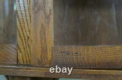 Late Victorian Bow Front Oak Curio China Display Cabinet Empire Ball & Claw Foot