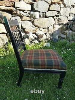 Late Victorian Harris Tweed covered low chair c1900