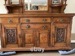 Late Victorian Oak Sideboard 85 H. 24 D. 72 W. Ornate. Beveled Mirrors