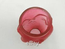Late Victorian S. Clarke's Two-Faced Cranberry Glass BABY Fairy Lamp