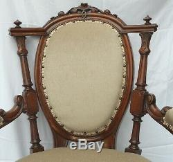 Late Victorian Show-frame Armchair (newly Upholstered) U. K. Customers Only