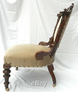 Late Victorian Show-frame Ladies Chair (newly Upholstered) U. K. Customers Only