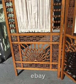 Late Victorian Stick & Ball 3 Panel Screen with Fabric Inserts