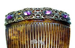 Late Victorian hair comb amethyst glass hair accessory