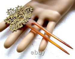 Late Victorian hair comb filigree leaf hair accessory