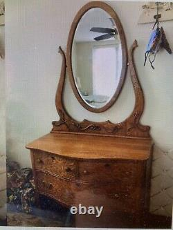 Late1800s Antique Oak Princess Dresser with Beveled Mirror Victorian Art Nouveau