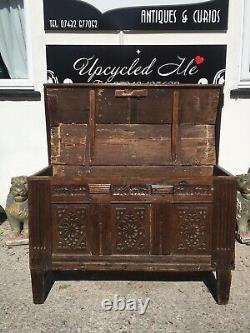 Late18th Century Coffer/chest With Unusual Lid And Carved Front