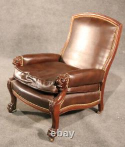 Lion Carved Genuine Leather Late Victorian Mahogany Lounge Club Chair C1870