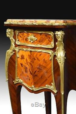 Louis XV style side table. Att to Joseph-Emmanuel Zwiener. France, late 19th c