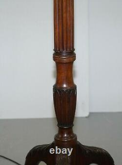 Lovely Late Victorian Claw & Ball Feet Floor Standing Lamp Fluted Mahognay Frame