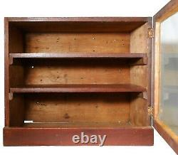 MID-LATE 19TH C AMERICAN PRMTV ANTIQUE SM RED PNTD 3 SHELF WD CABINET WithGLASS DR