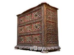 Magnificent Late 19th Century Spanish Colonial Carved e Gilded Chest of Drawers
