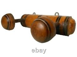 Mid-late 19th C American Antique Hand Painted/doweled/turned Wood Wall Coat Rack