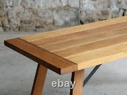 Oak Trestle Dining Table, Mid-to-Late 20th Century