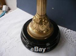 Oil Lamp Vintage Brass and Copper late 19th century fleur de lys decoration