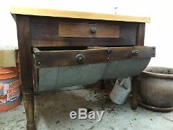 Omg Rare! Butcher Block Bread Table Vintage Antique Late 19th Century