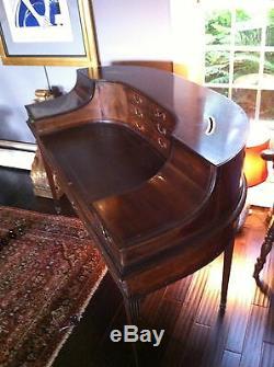 Original Rare SOLID Mahogany English Carlton Desk, 5 legs, Circa late 1700s
