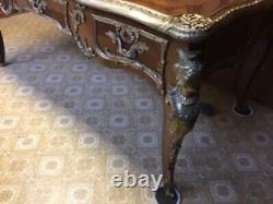Ornate Late 20th Century Louis XV LeatherTop Bureau Plat Desk