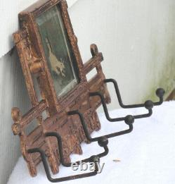 Ornate VIctorian Cast Iron Mirror Rack with 5 Coat/Hat Hangers Late 1800'sVGC