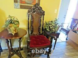 Outstanding Antique Jacobean Throne / Arm Chair Possible Late 1800s Early 1900s