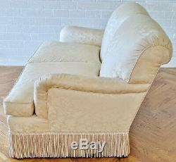 PAIR Fine Late 20th C Antique White Upholstered LOVESEAT / Two Seat SOFA Couch