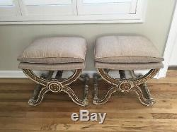PAIR French Louis XVI Gilt Wood Ottomans Stools Late 19th C to Early 20th C
