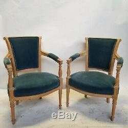 PAIR Late 19th Century Louis XVI Velvet Bergere Chairs