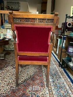Pair Charles Eastlake Sidechairs, Red Wool Mohair Upholstery, Late 19th Century