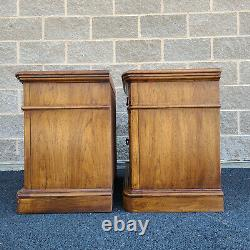 Pair Late 20th Century THOMASVILLE Oak & Burlwood Spanish Revival Nightstands