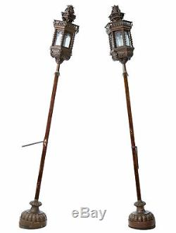 Pair Of Late 19th Century Copper Venetian Lamps On Poles