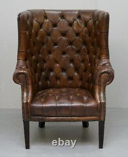 Pair Of Late Victorian Chesterfield Porters Wingback Armchairs Brown Leather