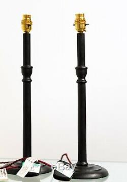 Pair of Large Mid Late 20th Century Ebonised Turned Beech Desk Table Light Lamp