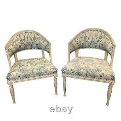 Pair of Late 18th C. Swedish Carved & Upholstered Chair