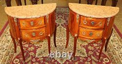 Pair of Late 19th / Early 20th Century Inlaid French Marble Top Nightstands
