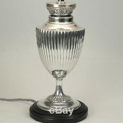 Pair of late 19th century silver plated oil/table lamps