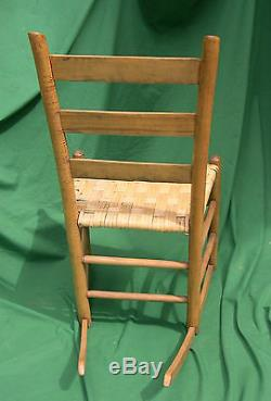 PickUpOnly Late 1800s Mule Ear Ladder Back Sewing Rocker Chair