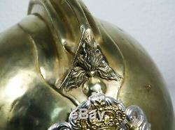 Portuguese Firefighter Helmet In Brass Late 19th Century Ornate