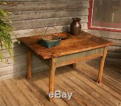 Primitive Antique Tavern Table Single Wide Board Top 29 Blue Paint late 1700s