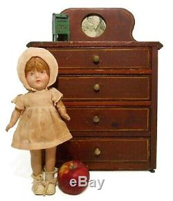 RARE MID-LATE 19TH C ANTIQUE PAINTED CHILD'S CHEST, WithBACKSPLASH & BRASS PULLS