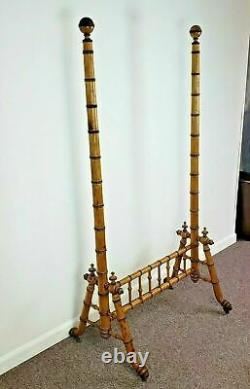 RJ Horner American Victorian Faux Bamboo Cheval Mirror Frame Circa Late 1800s