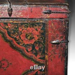 Rare Antique Wood Trunk Elephant Monkey Tibet Chinese Furniture Late 18th C